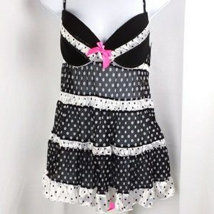 NWT Sheer polka dot lingerie set sexy nightgown  G